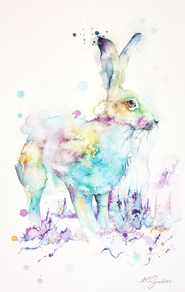 Cautious Hare by amanda gordon -  sized 9x15 inches. Available from Whitewall Galleries
